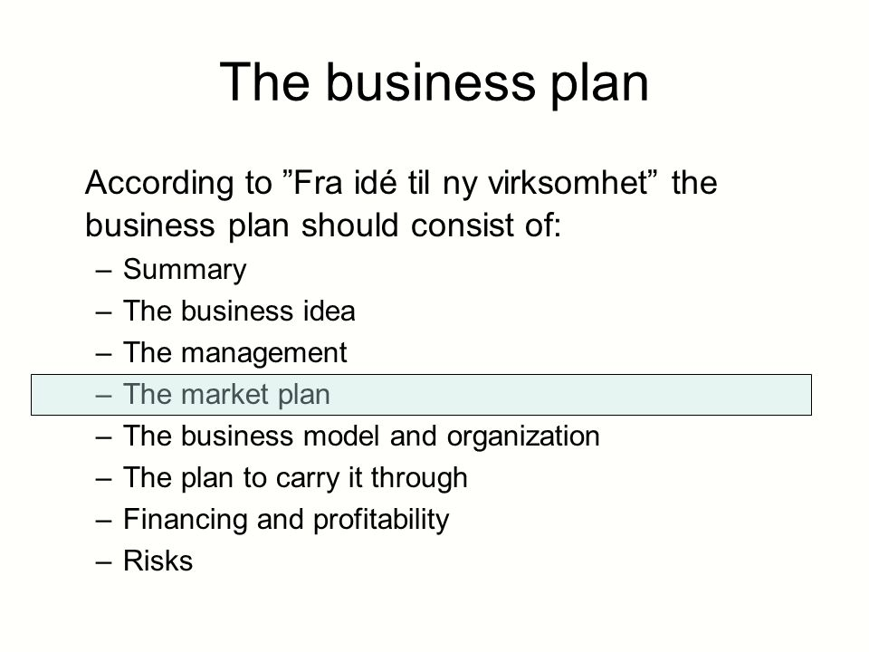 what does a business plan consist of