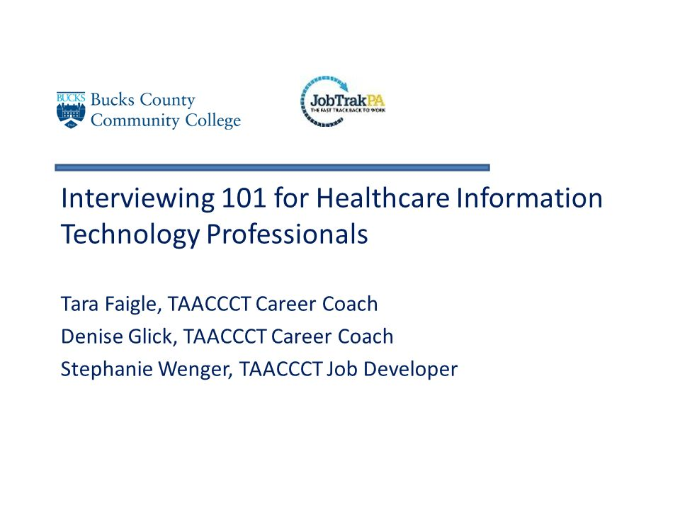 Interviewing 101 For Healthcare Information Technology Professionals