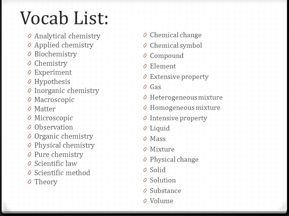 Introduction to Chemistry Ch 1 & 2  Vocab List: 0 Analytical
