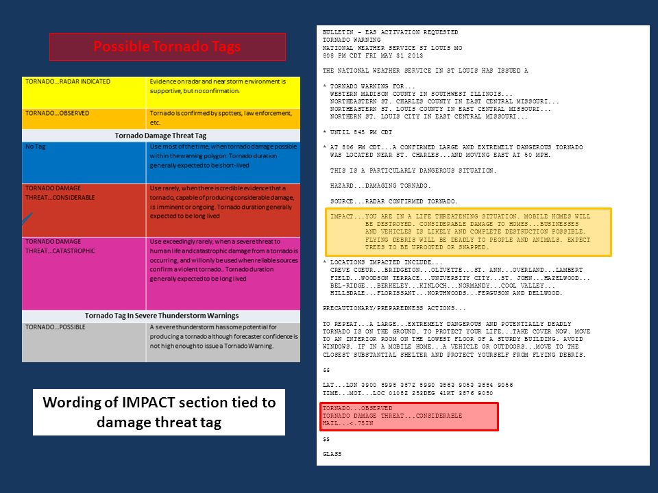 Impact Based Warning Experiment – Year 3 Severe Weather