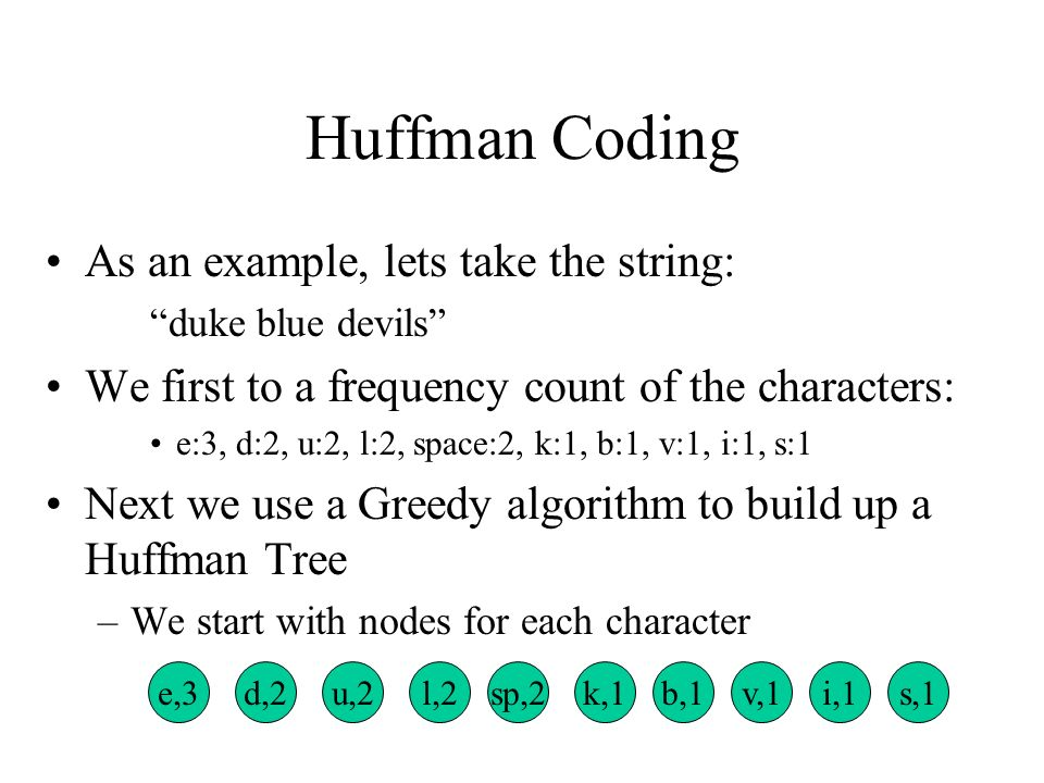 Huffman Coding  Huffman codes can be used to compress