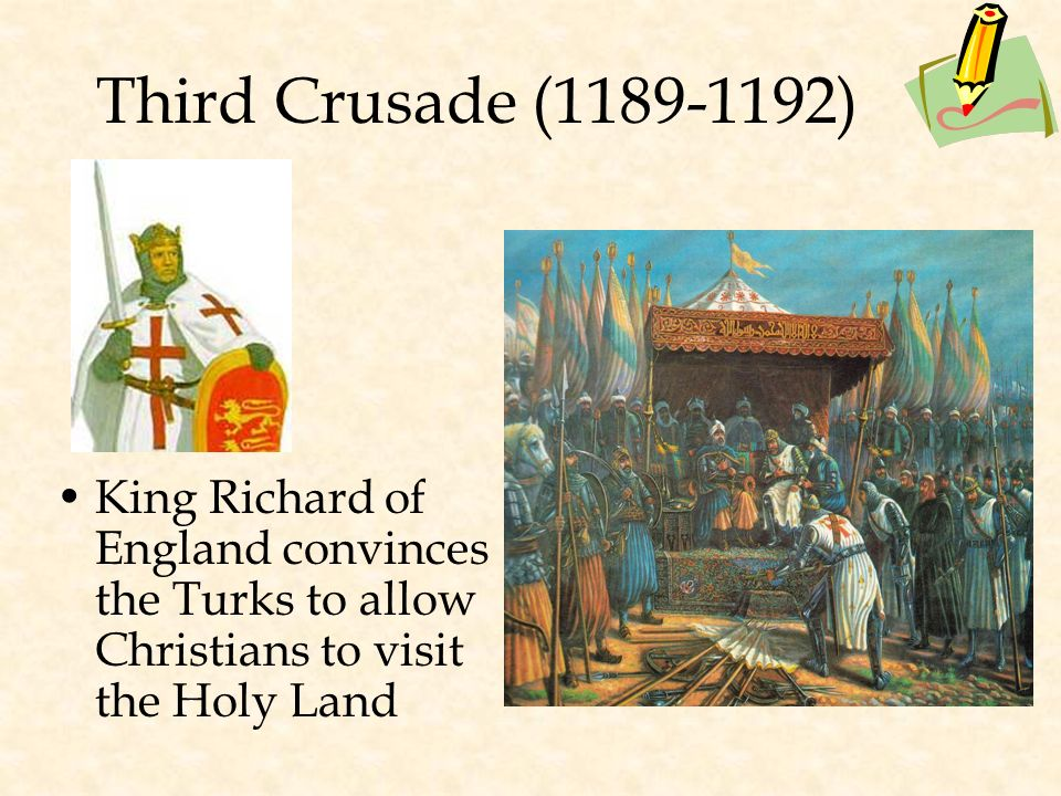 Second Crusade (1147-1149) Saladin leads the Muslim Turks to victory, defeating the Christians * He was considered a very wise ruler.