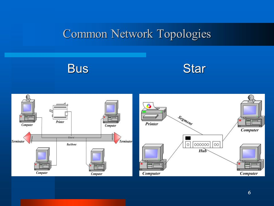 6 Common Network Topologies Bus Star
