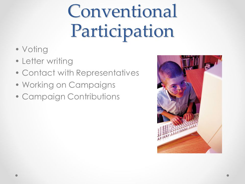 Conventional Participation Voting Letter writing Contact with Representatives Working on Campaigns Campaign Contributions