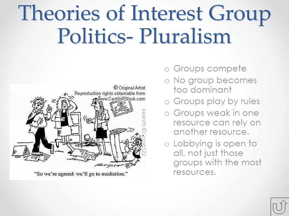Theories of Interest Group Politics- Pluralism o Groups compete o No group becomes too dominant o Groups play by rules o Groups weak in one resource can rely on another resource.