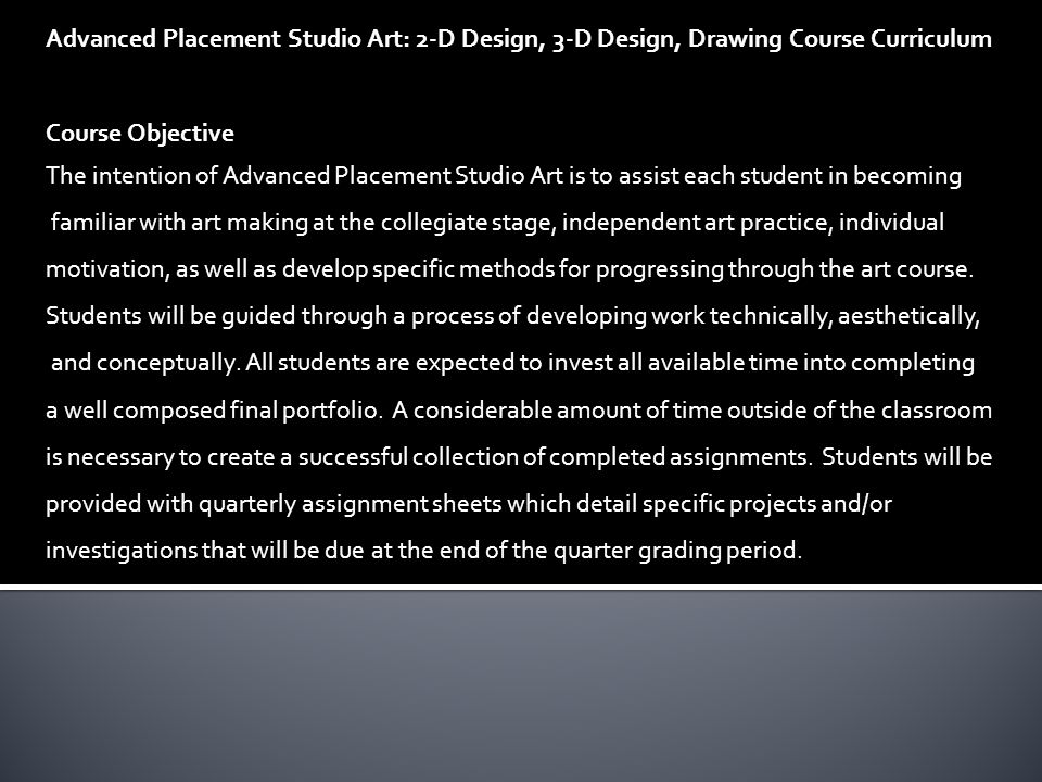 College Board Advanced Placement Ap Studio Art Syllabus