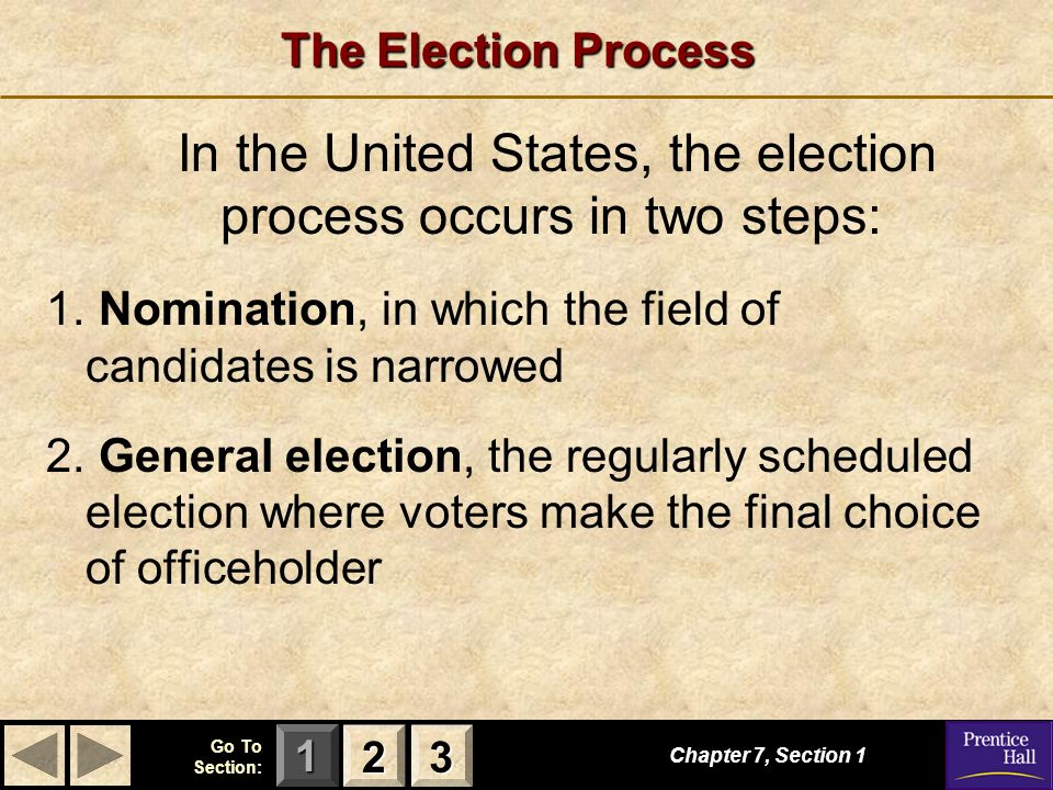 123 Go To Section: The Election Process Chapter 7, Section In the United States, the election process occurs in two steps: 1.