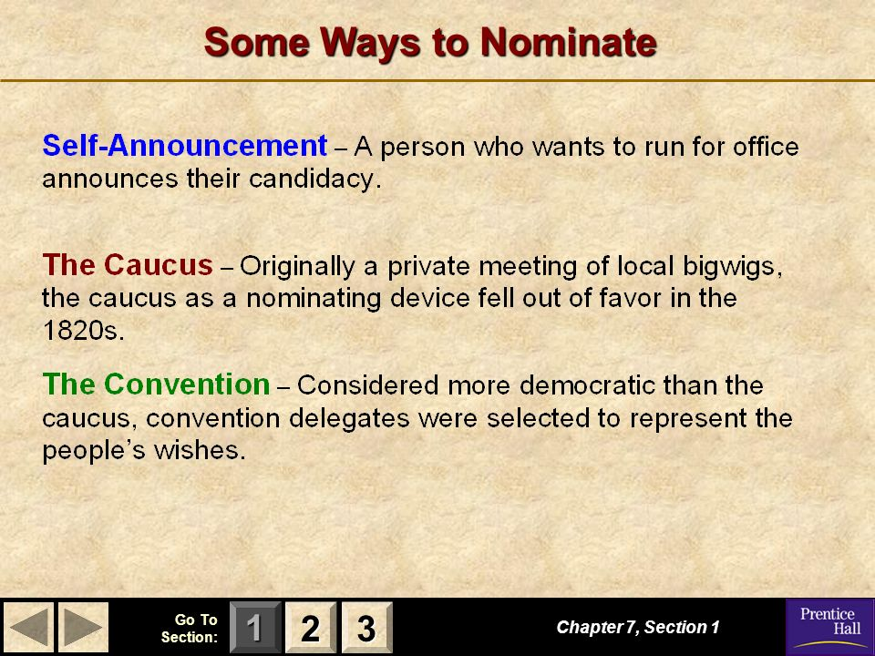 123 Go To Section: Some Ways to Nominate Chapter 7, Section