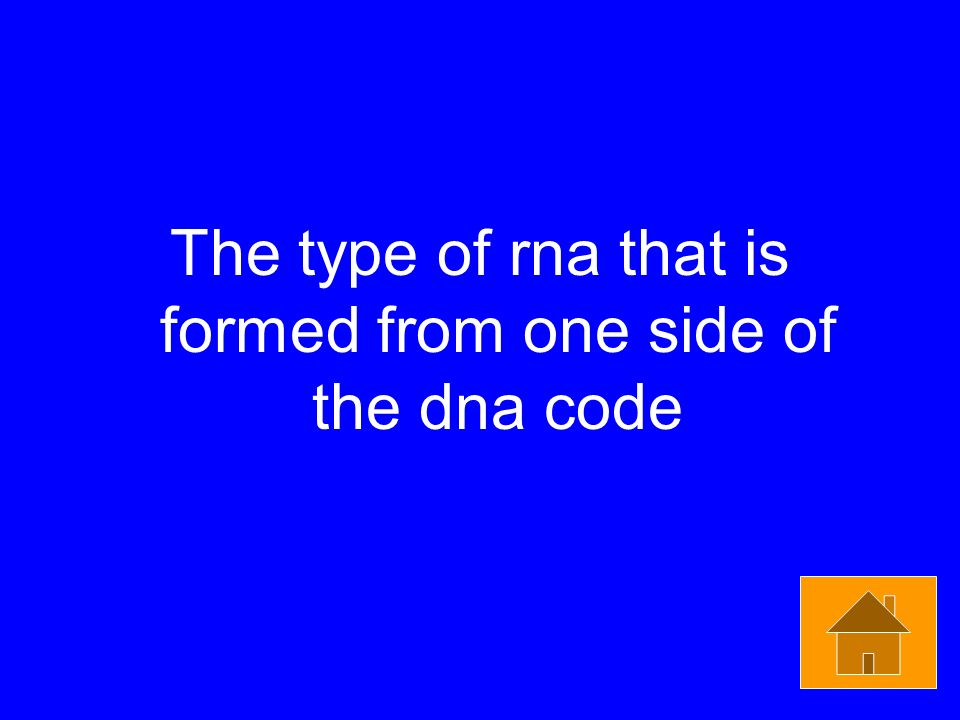 The type of rna that is formed from one side of the dna code