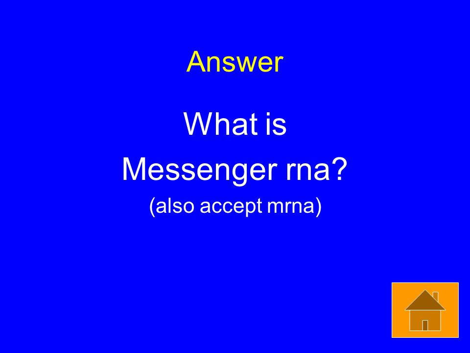 Answer What is Messenger rna (also accept mrna)
