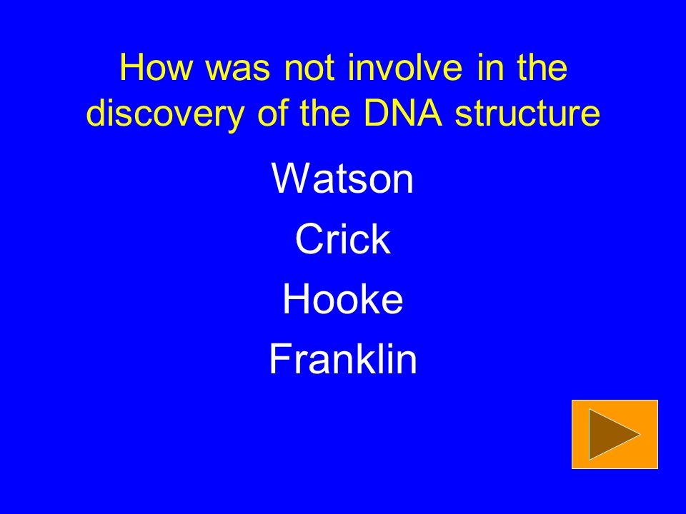 How was not involve in the discovery of the DNA structure Watson Crick Hooke Franklin