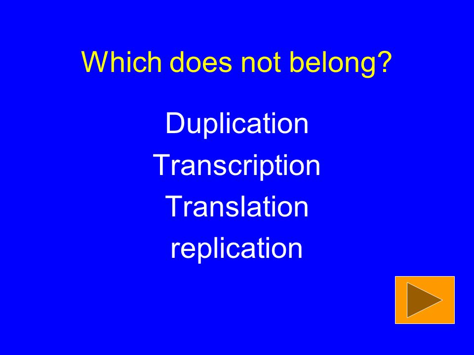 Duplication Transcription Translation replication Which does not belong