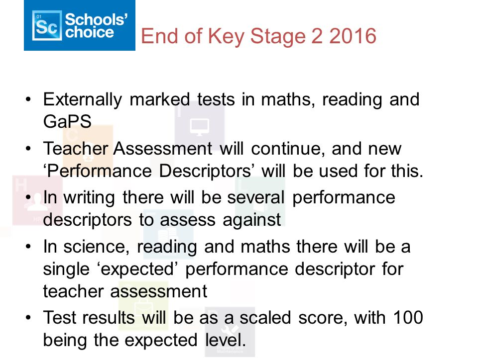 End of Key Stage Externally marked tests in maths, reading and GaPS Teacher Assessment will continue, and new 'Performance Descriptors' will be used for this.