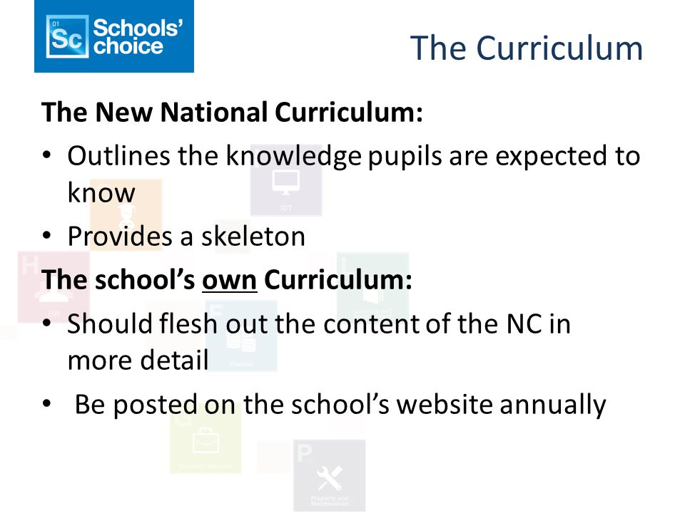 The Curriculum The New National Curriculum: Outlines the knowledge pupils are expected to know Provides a skeleton The school's own Curriculum: Should flesh out the content of the NC in more detail Be posted on the school's website annually