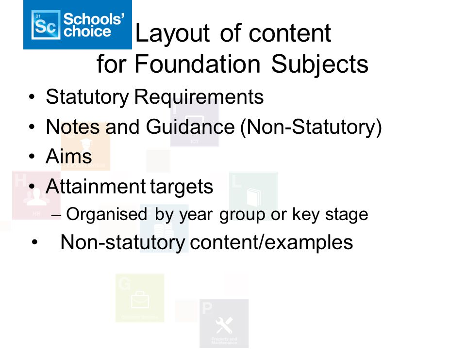 Layout of content for Foundation Subjects Statutory Requirements Notes and Guidance (Non-Statutory) Aims Attainment targets –Organised by year group or key stage Non-statutory content/examples