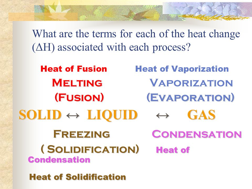 Heat of Fusion Heat of Vaporization Melting Melting Vaporization (Fusion) (Evaporation) (Fusion) (Evaporation) SOLID ↔ LIQUID ↔ GAS SOLID ↔ LIQUID ↔ GAS Freezing Condensation Freezing Condensation ( Solidification) Heat of Condensation ( Solidification) Heat of Condensation Heat of Solidification Heat of Solidification What are the terms for each of the heat change (ΔH) associated with each process