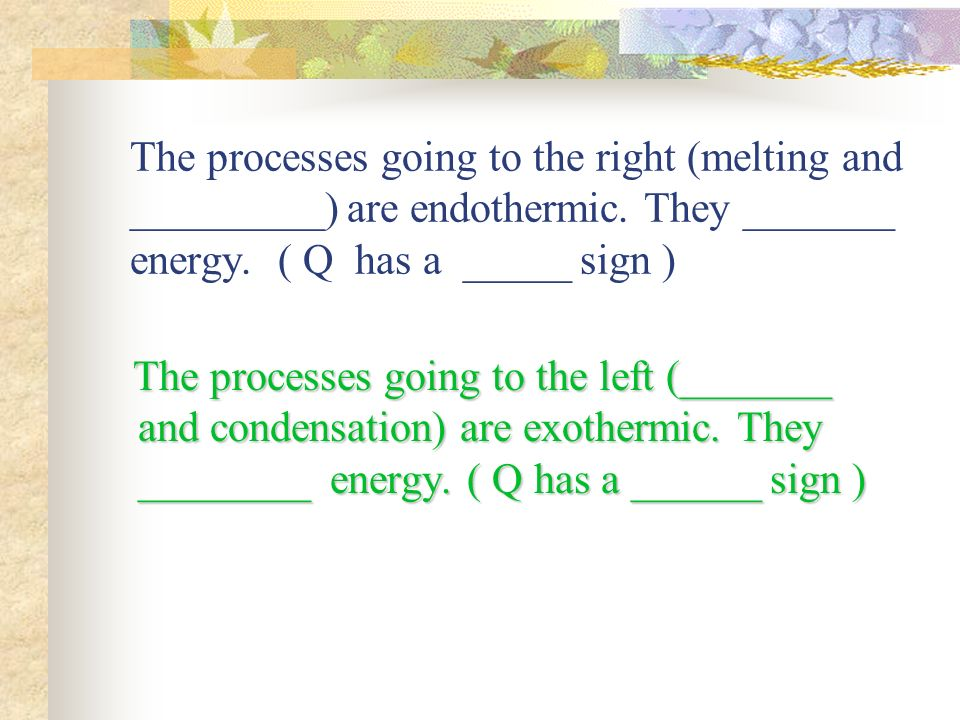 The processes going to the right (melting and _________) are endothermic.