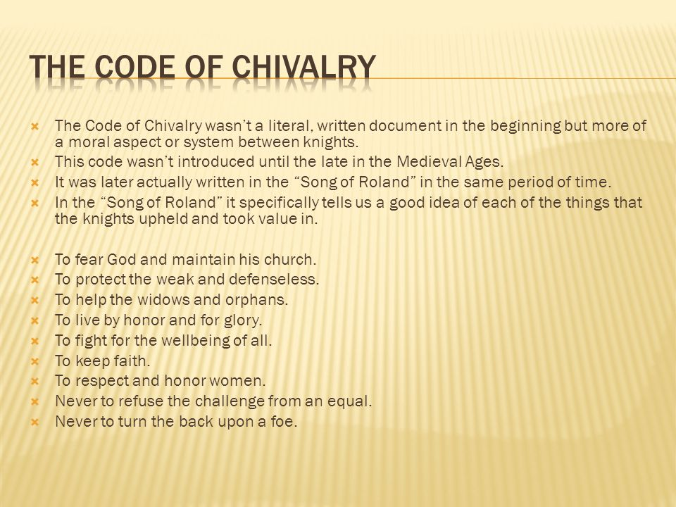 what is the knights code of chivalry