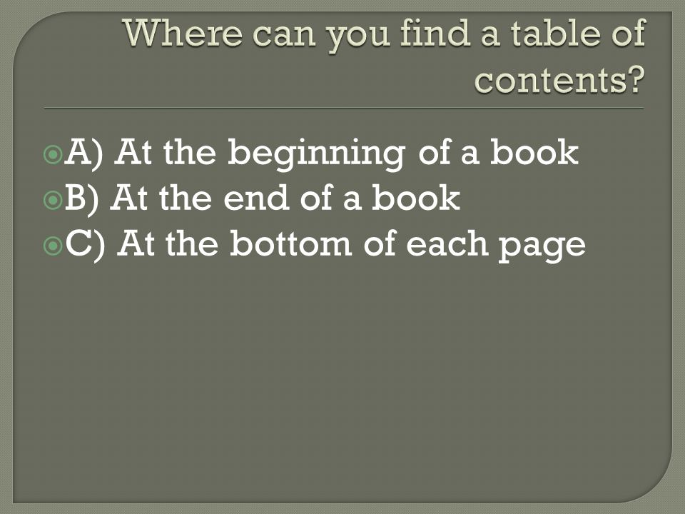  A) At the beginning of a book  B) At the end of a book  C) At the bottom of each page