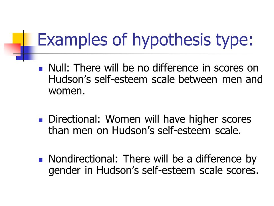non directional research hypothesis example