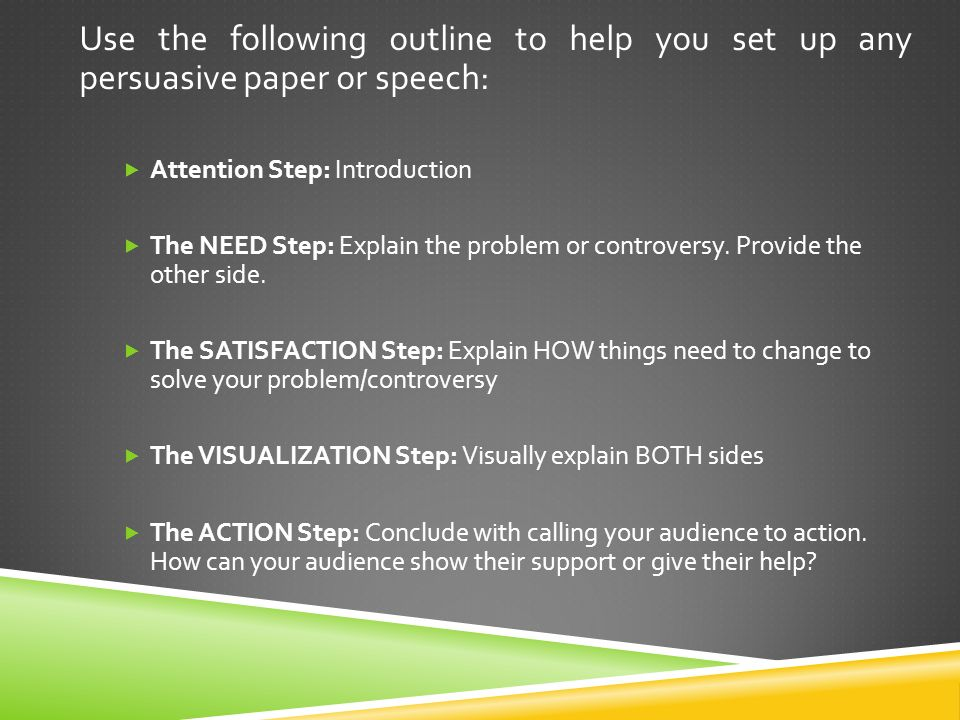 Use the following outline to help you set up any persuasive paper or speech:  Attention Step: Introduction  The NEED Step: Explain the problem or controversy.