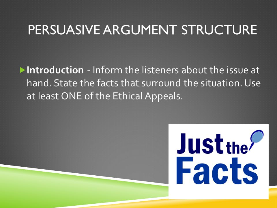 PERSUASIVE ARGUMENT STRUCTURE  Introduction - Inform the listeners about the issue at hand.