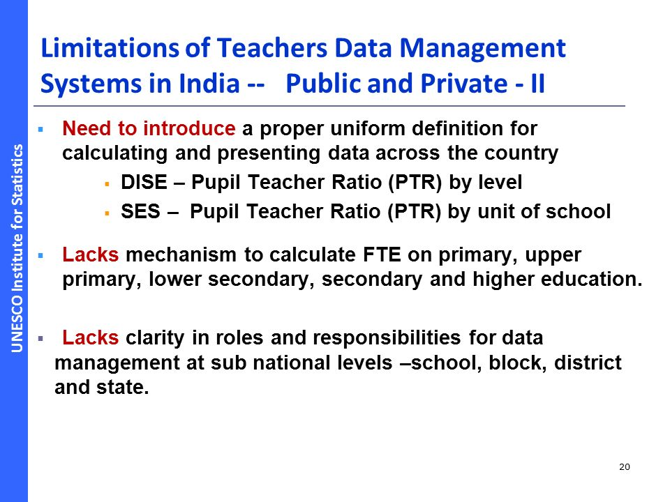 UNESCO Institute for Statistics Monitoring and Evaluation of