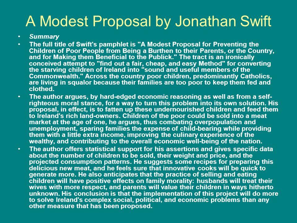 A literary analysis on a modest proposal by jonathan swift