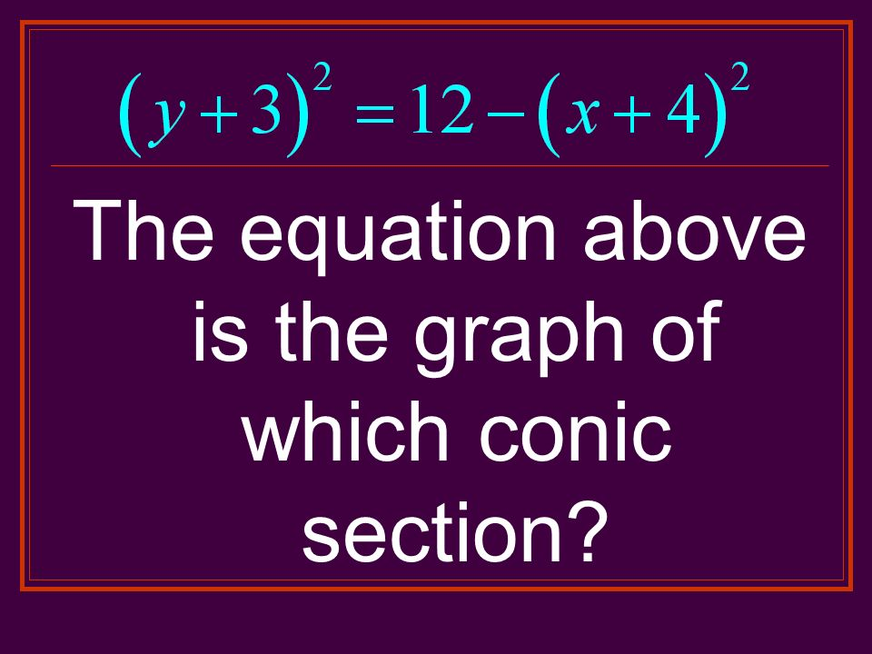 The equation above is the graph of which conic section