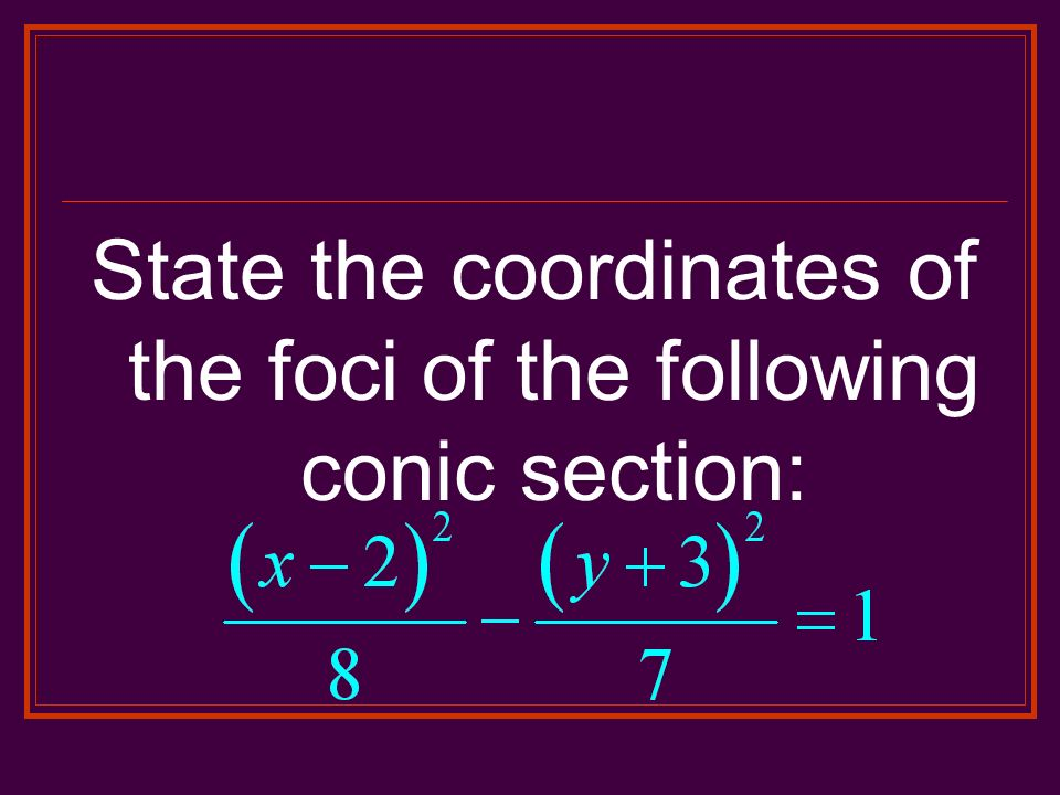 State the coordinates of the foci of the following conic section: