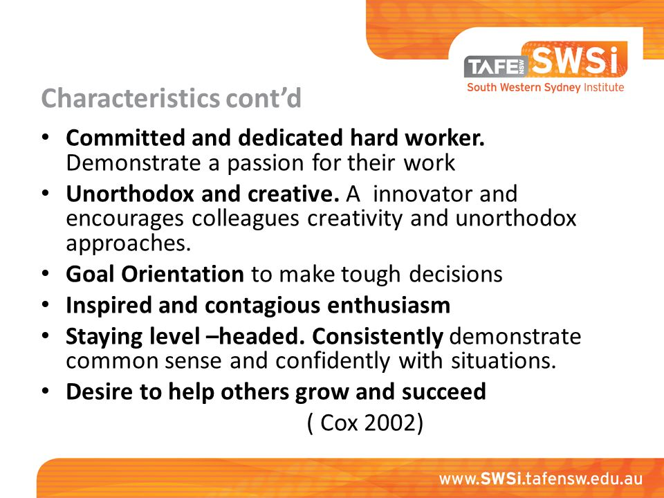 4 characteristics contd committed and dedicated hard worker