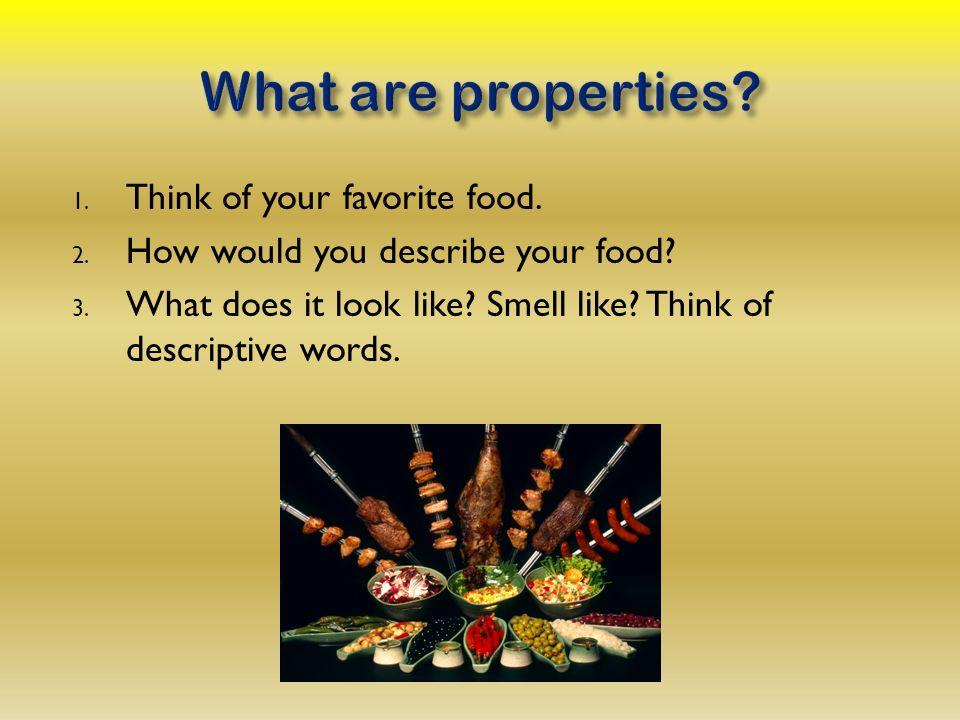 descriptive words to describe food
