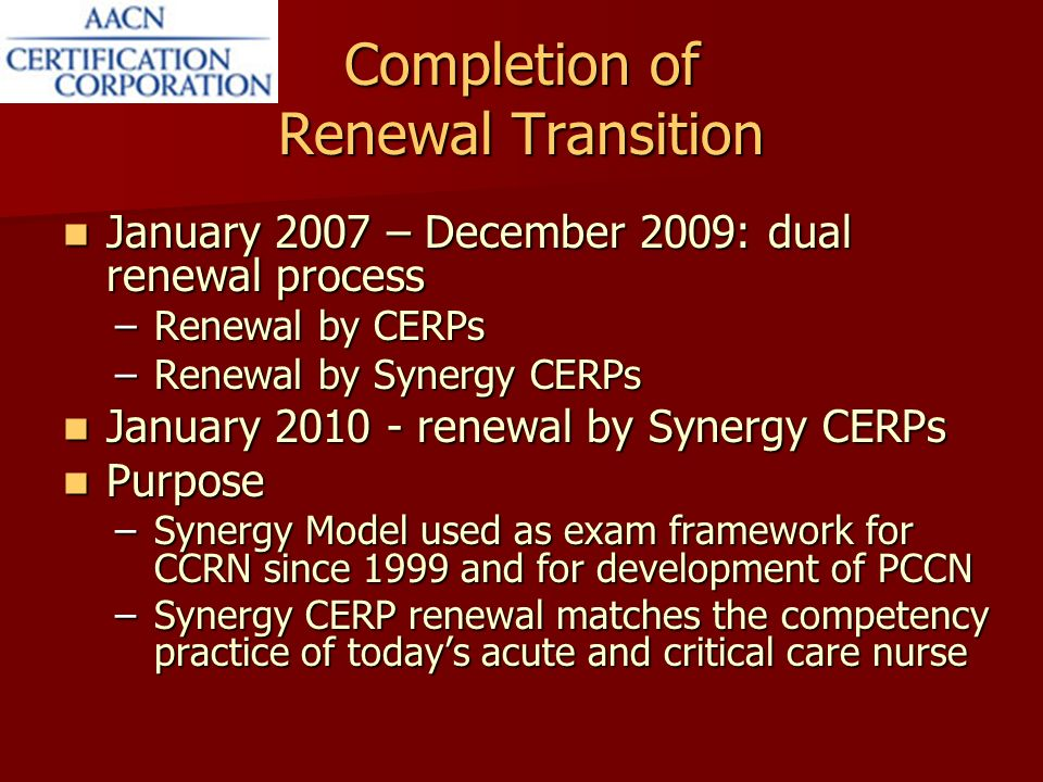 Renewal By Synergy Cerps Aligning Certification Renewal With