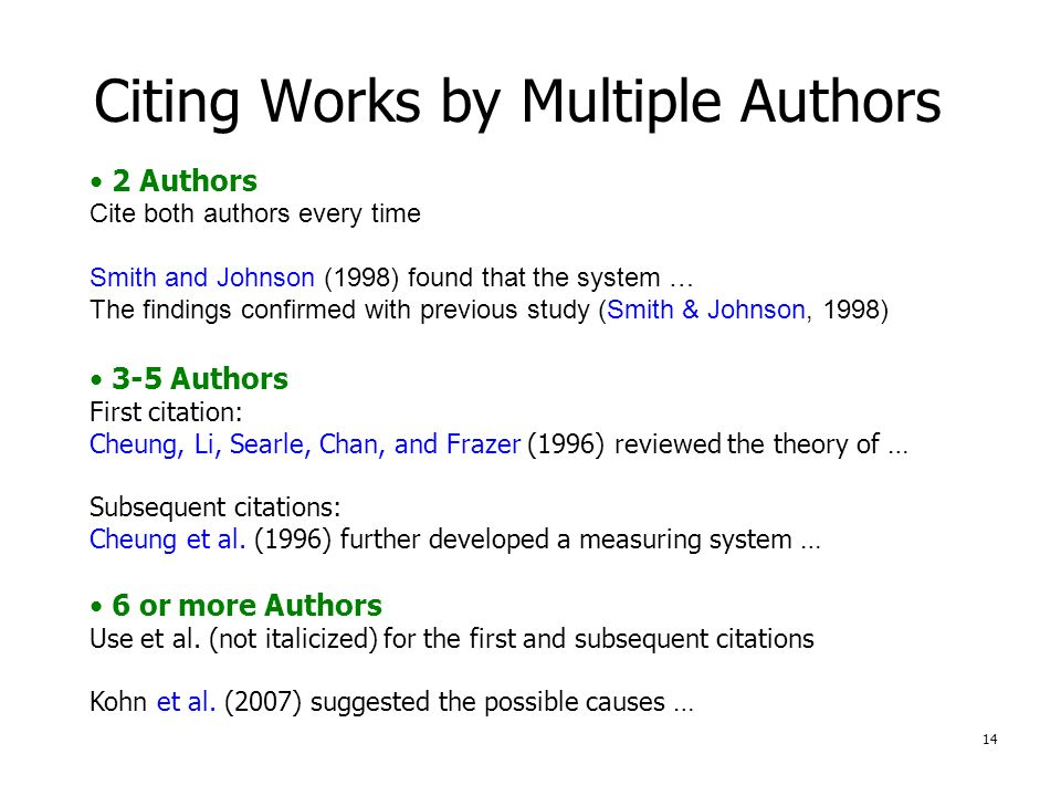 1 Library Workshop Citing Information In Apa Style