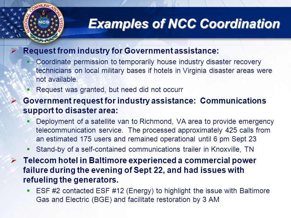 National Communications System Briefing Template Hurricane Isabel - Telecom disaster recovery plan template