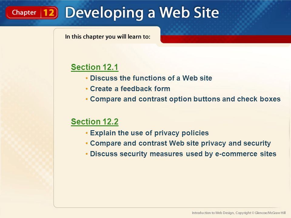 Section 12 1 Discuss The Functions Of A Web Site Create A Feedback