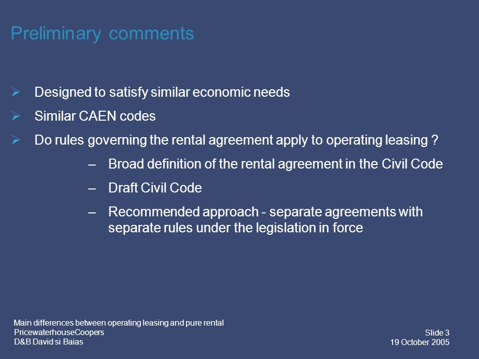 Pwc Main Differences Between Operating Leasing And Pure Rental