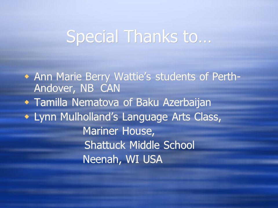 World of Water Sponsored by Shattuck Middle School Neenah