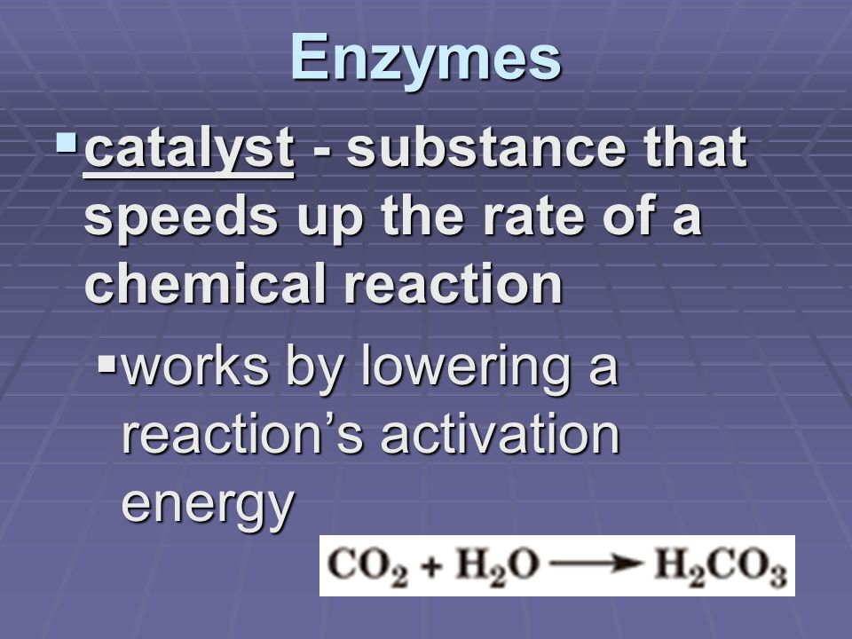 Enzymes  catalyst - substance that speeds up the rate of a chemical reaction  works by lowering a reaction's activation energy