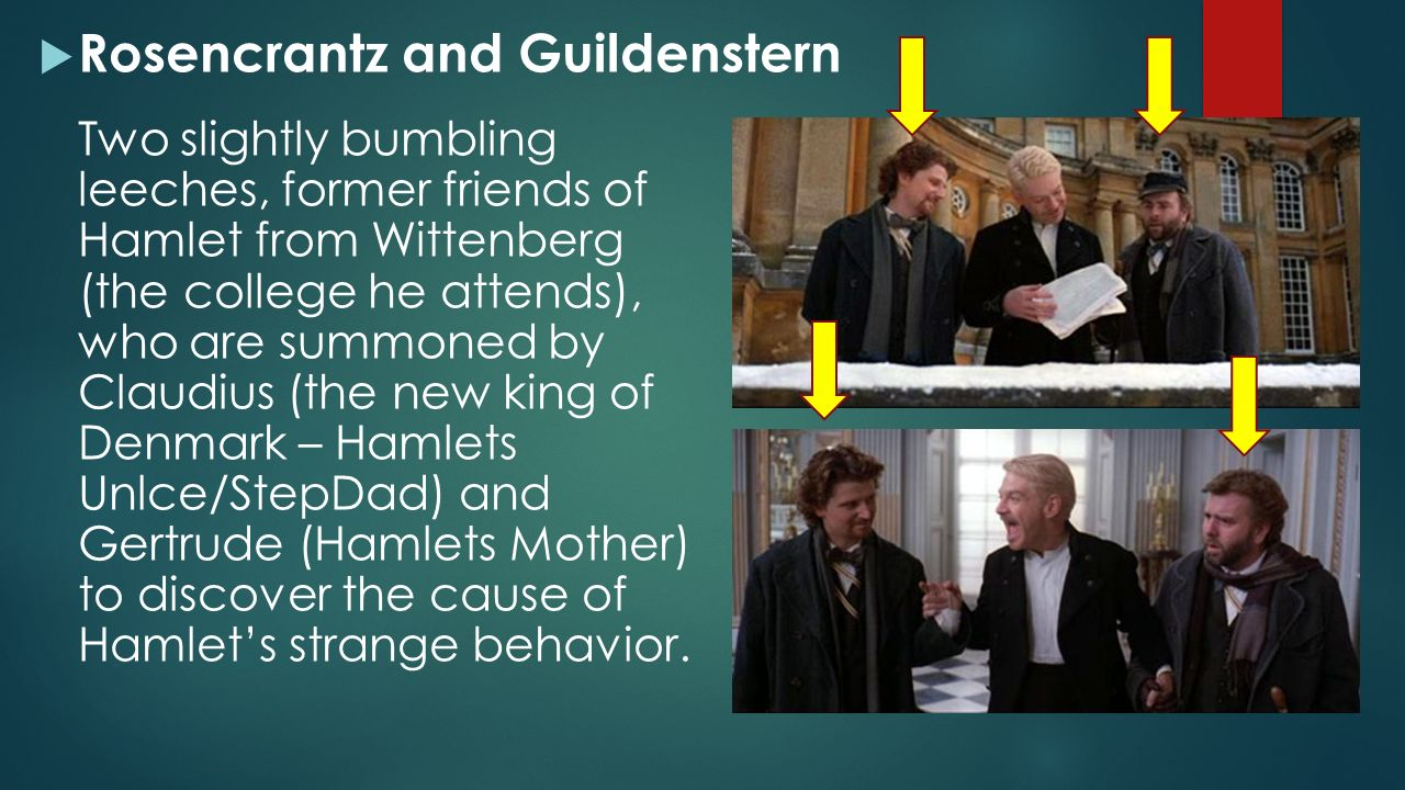 a comparison of hamlets reaction to the arrival of rosencrantz and guildenstern Guildenstern to take hamlet immediately to england they have been instructed to present a letter to the english king upon arrival demanding that hamlet be immediately executed.