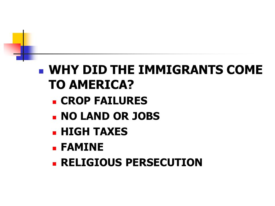 WHY DID THE IMMIGRANTS COME TO AMERICA.