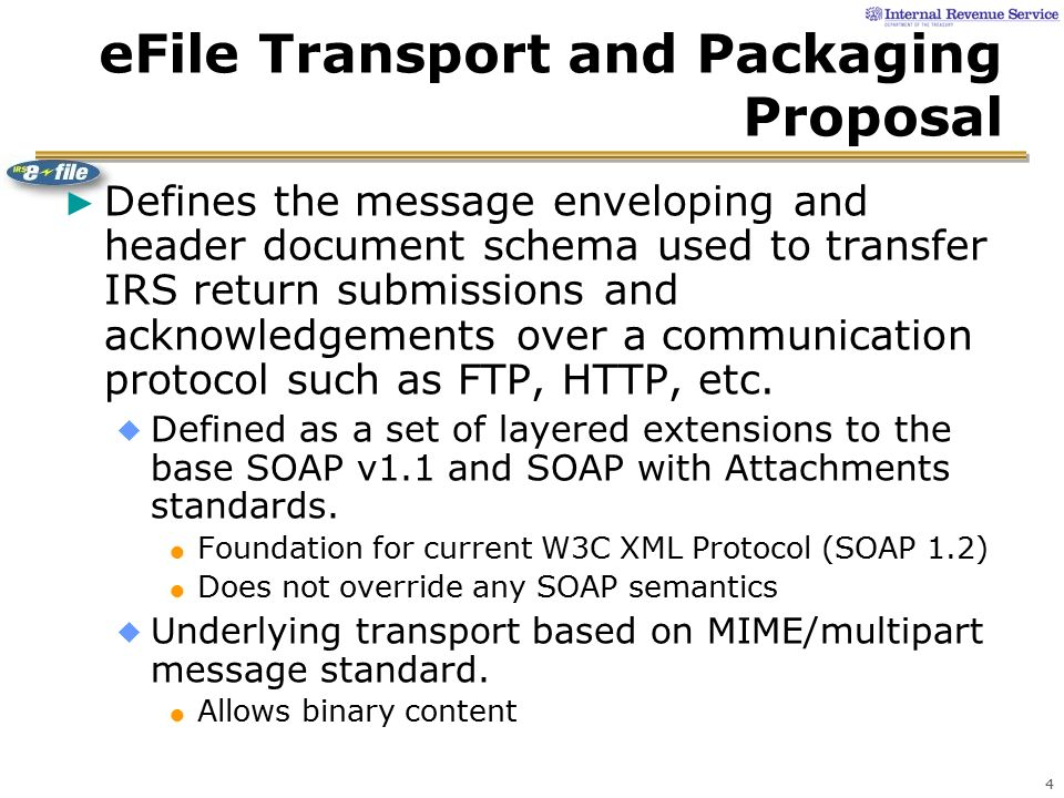 Irs E File Transmission Packaging Strategy Based On Exploratory Work