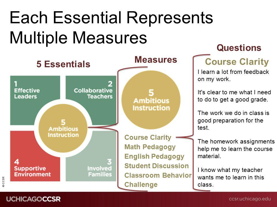 Ccsr Each Essential Represents Multiple Measures 5 Essentials Measures Course Clarity Math Pedagogy English Pedagogy