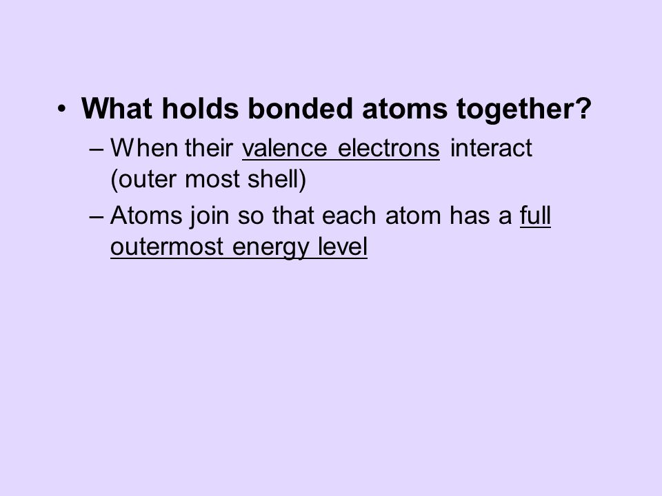 What holds bonded atoms together.