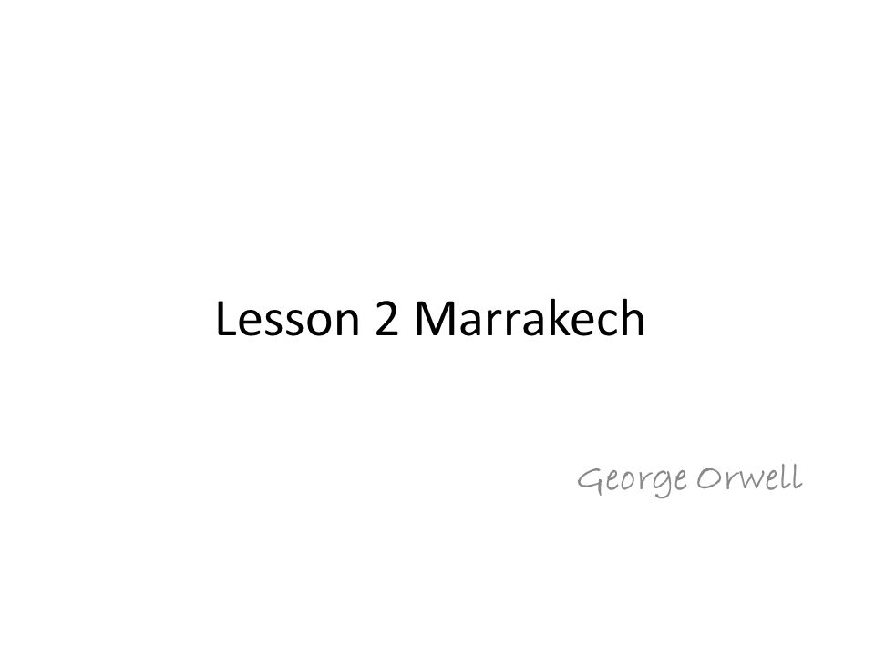 marrakech orwell