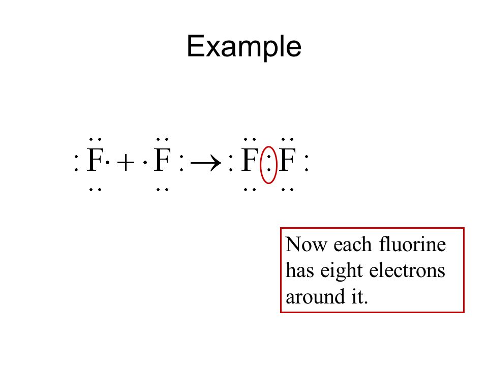 Example Now each fluorine has eight electrons around it.