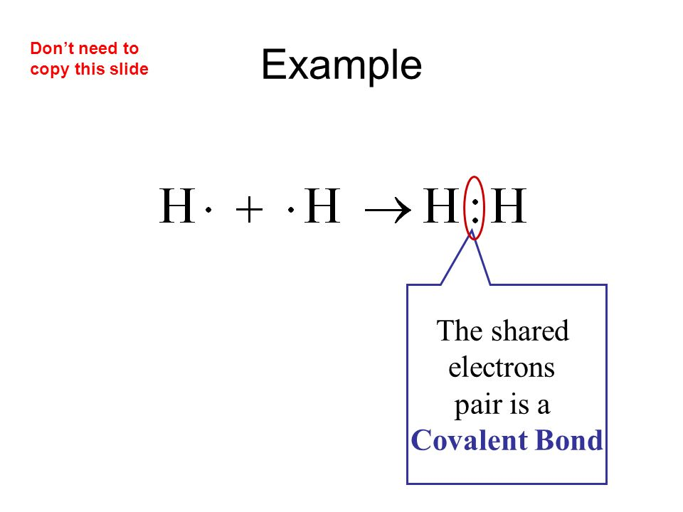 Example The shared electrons pair is a Covalent Bond Don't need to copy this slide