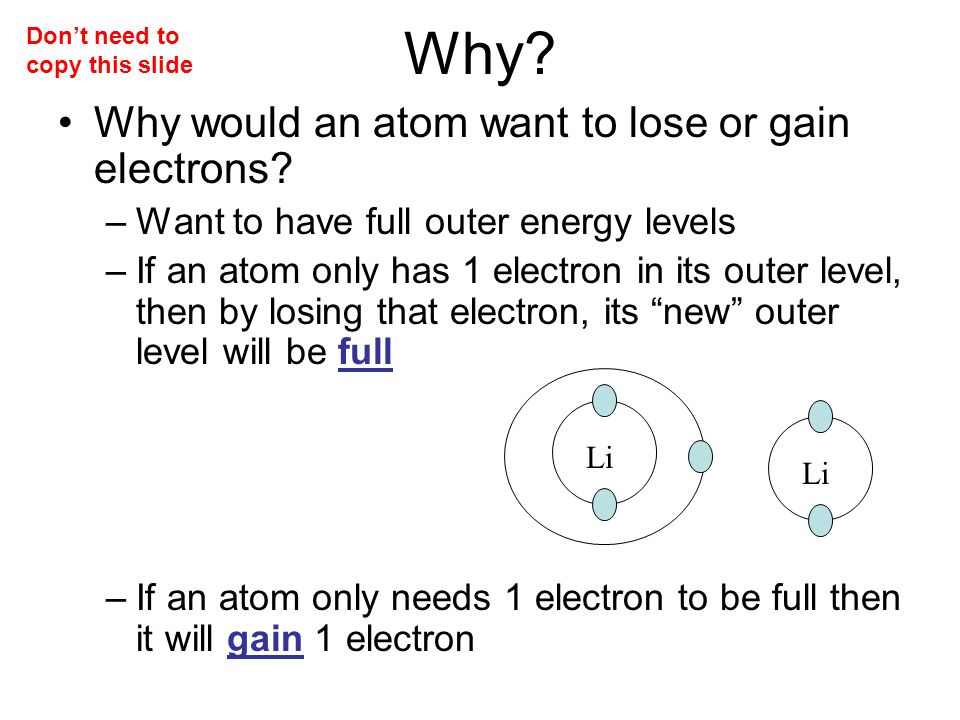 Why. Why would an atom want to lose or gain electrons.