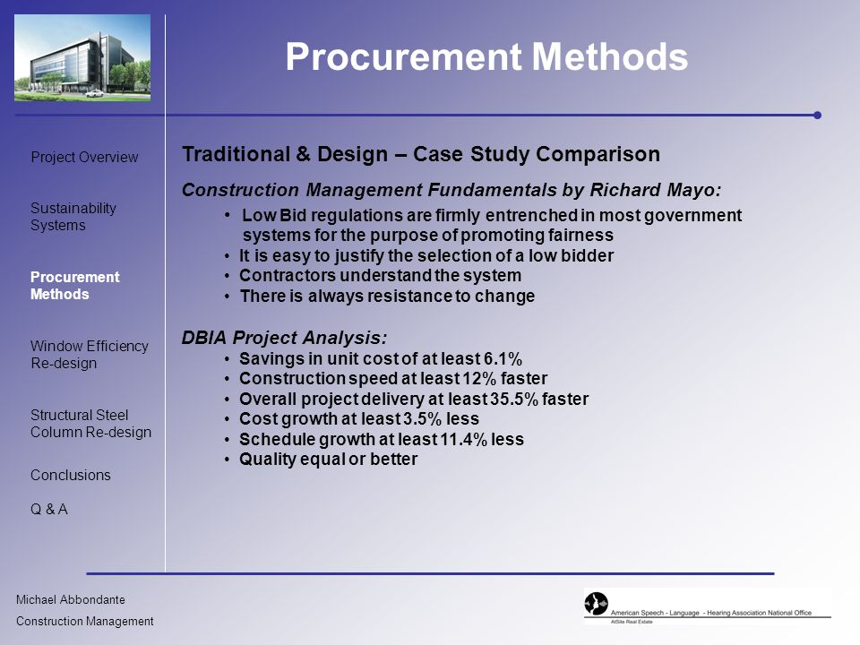 what is the procurement method construction essay The construction essay below has been submitted to us by a student in order to help you with your studies please ensure that you reference our essays correctly the organisational and financial methods employed to undertake a construction project are known as procurement paths.