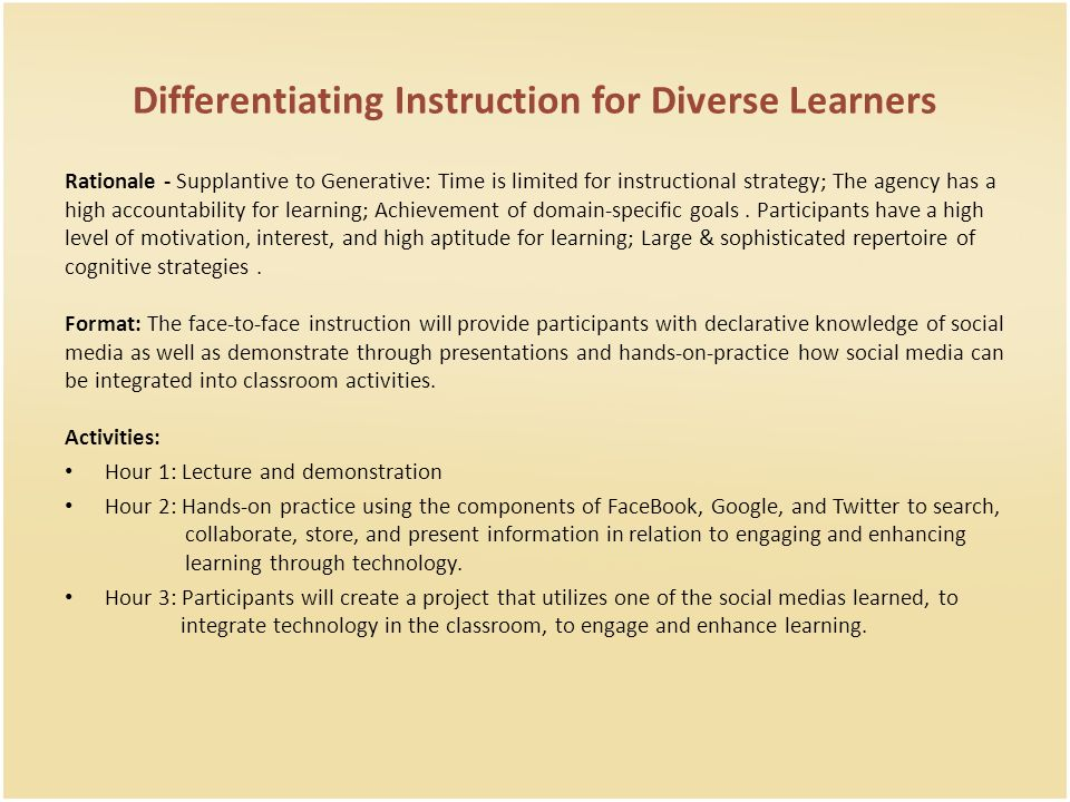 Instructional Strategies For The Workshop Will Include A Combination
